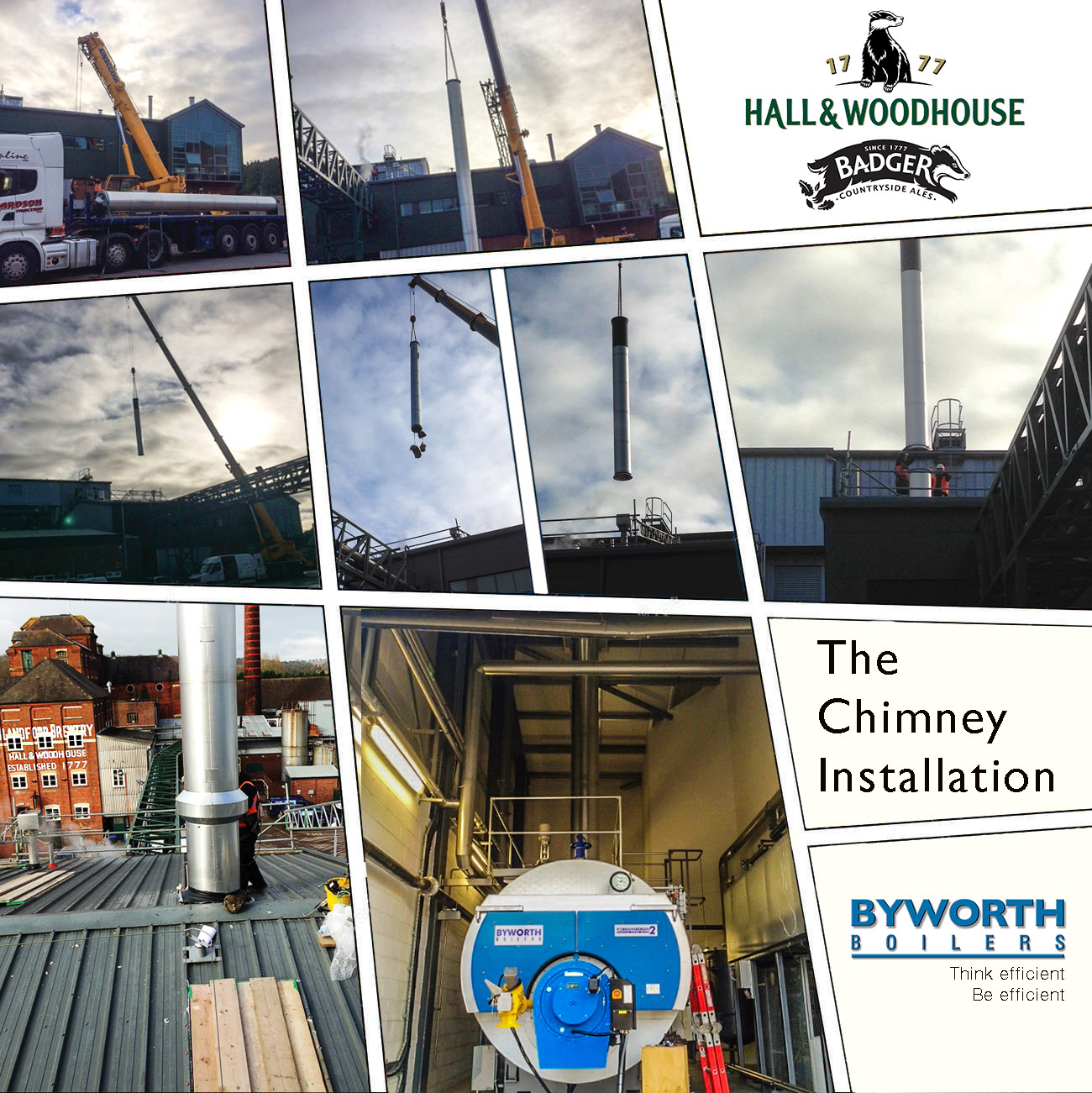 Chimney installation - one part of the installation works carried out by Byworth at Hall and Woodhouse brewery