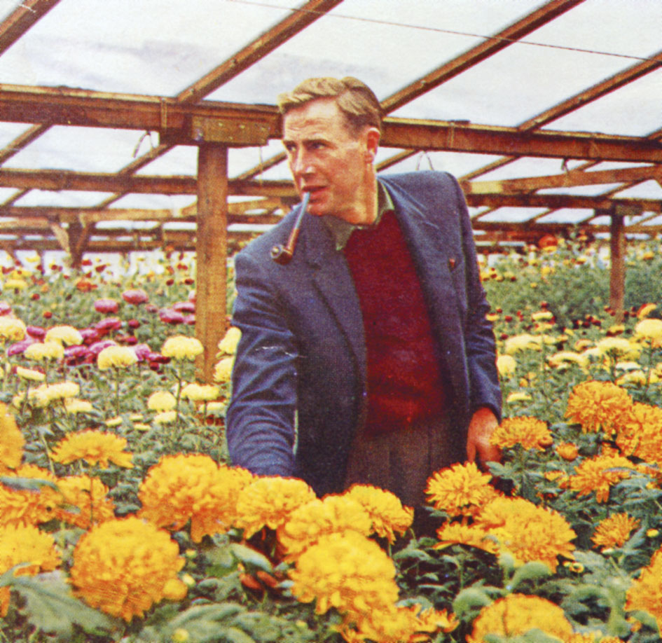 Dennis Baldwin, Founder of Byworth Boilers. Dennis used steam in his process to grow Chrysanthemums